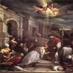 Jacopo Bassano (Jacopo da Ponte) (1510-1592)  St Valentine Baptizing St Lucilla  Oil on canvas, 1575  Museo Civico, Bologna